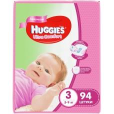 Huggies Ultra Comfort 3 (5-9кг) для девочек 94 шт.