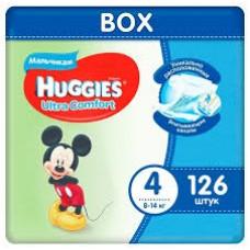 Huggies Ultra Comfort 4 (8-14кг) для мальчиков 126шт