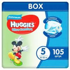 Huggies Ultra Comfort 5 (12-22кг) для мальчиков 105 шт