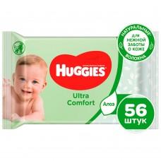 Салфетки влажные Huggies Ultra Comfort с Алоэ Вера 56 шт