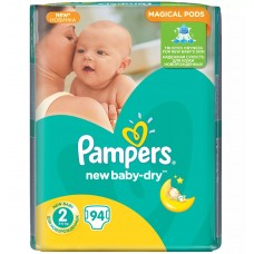 PAMPERS Подгузники New Baby-Dry 2 Mini (4-8 кг) 94 шт.