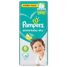 PAMPERS Подгузники Active Baby-Dry 6 Extra Large (13-18 кг) 52шт.