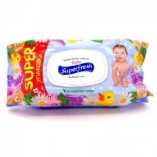 Влажные салфетки Super fresh для детей и мам с клапаном 120шт.